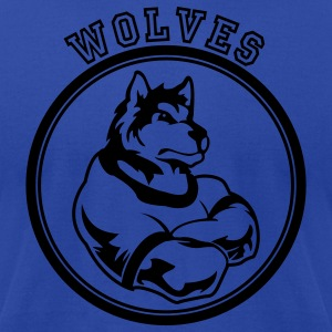 Royal blue Wolf or wolves Custom Teams Graphic Hoodies - Men's T-Shirt by American Apparel