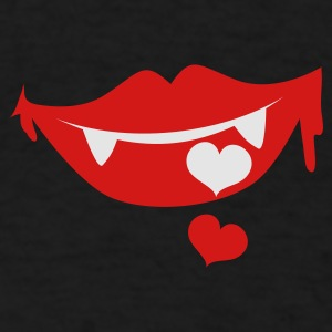 Black vampire lips with love heart smiling Other - Men's T-Shirt