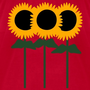 Red Three Cute Sunflowers With Stem And Leaves Sweatshirts - Men's T-Shirt by American Apparel