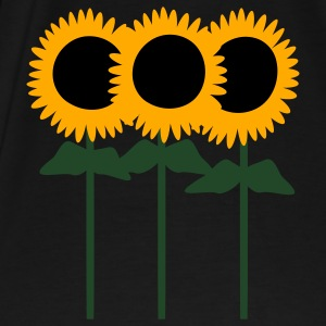 Black Three Cute Sunflowers With Stem And Leaves Tanks - Men's Premium T-Shirt
