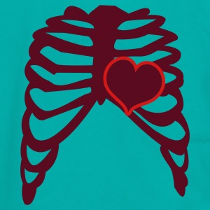 Teal rib cage with love heart Women's T-Shirts - Unisex Fleece Zip Hoodie by American Apparel