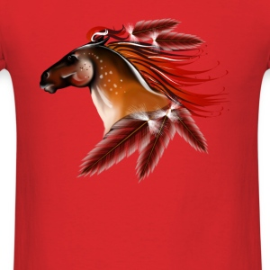 Horse and Red Feathers - Men's T-Shirt