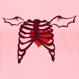 Pink rib cage with love heart and devil wings Sweatshirts - Women's Premium T-Shirt