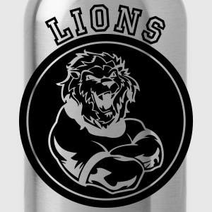 Red Custom Sports Lions Mascot Hoodies - Water Bottle