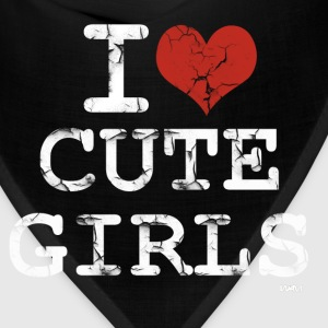 Black i love cute girls vintage white by wam T-Shirts - Bandana
