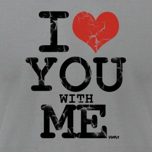 Gray i love you with me by wam Long Sleeve Shirts - Men's T-Shirt by American Apparel