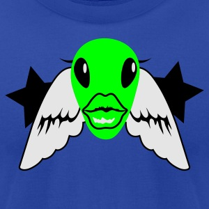 Brown alien woman face with wings Tanks - Men's T-Shirt by American Apparel