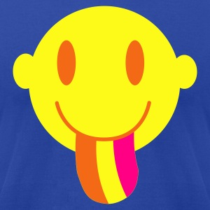 Brown Smiley with a rainbow tongue Tanks - Men's T-Shirt by American Apparel