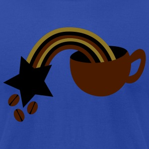 Brown COFFEE addiction cup with beans rainbow Tanks - Men's T-Shirt by American Apparel