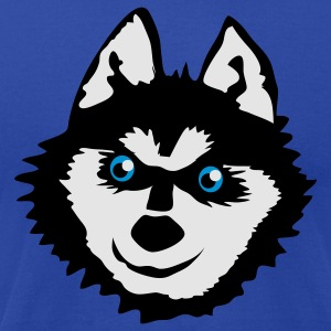 Brown Siberian husky face with a huge smile cute! Tanks - Men's T-Shirt by American Apparel