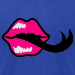 Brown pouty lips kiss with black tongue Tanks - Men's T-Shirt by American Apparel