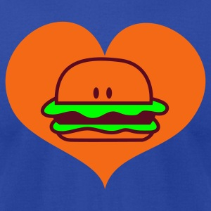 Brown hamburger in love heart with peeking eyes Tanks - Men's T-Shirt by American Apparel