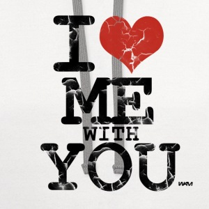 White i love me with you by wam Women's T-Shirts - Contrast Hoodie