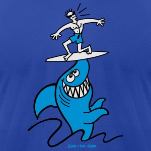 Royal blue Shark Powered Surfing Hoodies - Men's T-Shirt by American Apparel