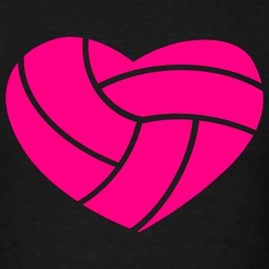 Black Volleyball in Shape of Heart Tanks - Men's T-Shirt