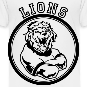 White Custom Lions Mascot Kids' Shirts - Toddler Premium T-Shirt