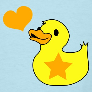 Sky blue rubber duckie with star love heart whistle Baby Body - Men's T-Shirt