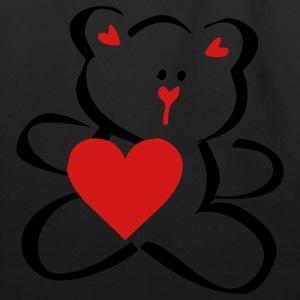 Black TEDDY HEART (vector) Kids' Shirts - Eco-Friendly Cotton Tote