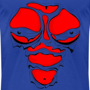 Ripped Muscles Female Red, chest T-shirt, comicbook breasts - Men's T-Shirt by American Apparel