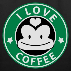 Black i love coffee monkey face starbucks parody cute Women's T-Shirts - Eco-Friendly Cotton Tote