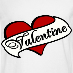 White Valentine Tatoo Red Heart With Banner--DIGITAL DIRECT PRINT Women's T-Shirts - Men's Long Sleeve T-Shirt