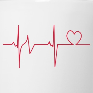 White Heartbeat T-Shirts - Coffee/Tea Mug