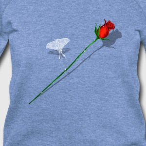 Red Rose and White Butterfly - Women's Wideneck Sweatshirt