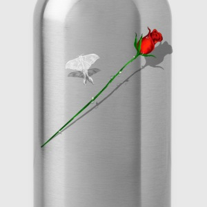 Red Rose and White Butterfly - Water Bottle
