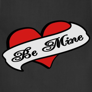 Black Be Mine Heart Banner Tattoo T-Shirts - Adjustable Apron
