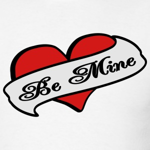 White Be Mine Heart Banner Tattoo Long Sleeve Shirts - Men's T-Shirt