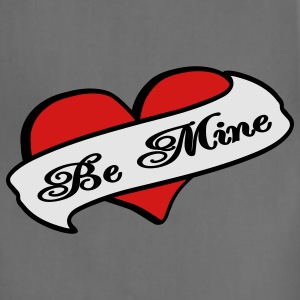 Gray Be Mine Heart Banner Tattoo Women's T-Shirts - Adjustable Apron