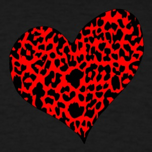 Red Cheetah Heart T-shirt - Men's T-Shirt