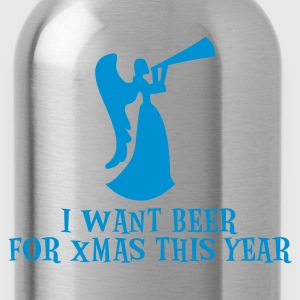Gray I want beer for xmas this year ! with drinking Angel Christmas funny design Women's T-Shirts - Water Bottle