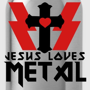 Gray JESUS LOVES METAL Women's T-Shirts - Water Bottle