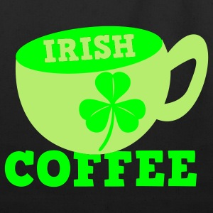 White/black Irish Coffee with clover leaf St Patricks Day Tribute T-Shirts - Eco-Friendly Cotton Tote