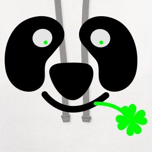 White/black cute irish panda with clover leaf St Patricks Day T-Shirts - Contrast Hoodie