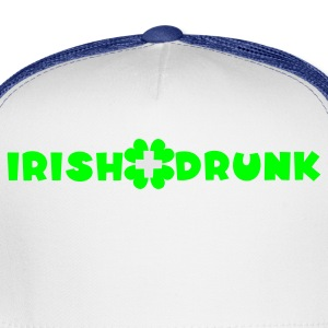 White/black Irish and drunk St Patricks Day with clover T-Shirts - Trucker Cap