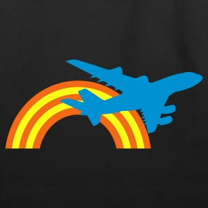 Green/white jet plane flying over the rainbow T-Shirts - Eco-Friendly Cotton Tote