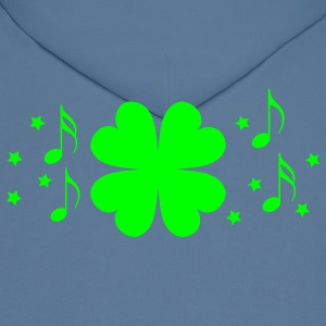 Royal blue St Patricks day four leaf clover with stars and musical notes T-Shirts - Men's Hoodie