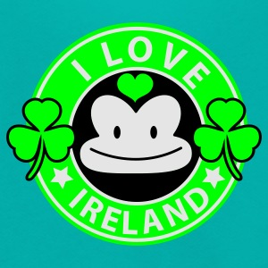 Teal i love ireland monkey face Coffee chain parody For St Patricks Day Women's T-Shirts - Unisex Fleece Zip Hoodie by American Apparel