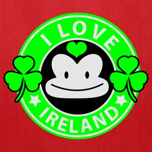 Kelly green i love ireland monkey face Coffee chain parody For St Patricks Day Women's T-Shirts - Tote Bag