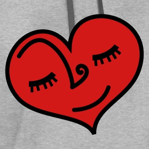 Light oxford love heart sleeping with lovely eyelashes T-Shirts - Contrast Hoodie