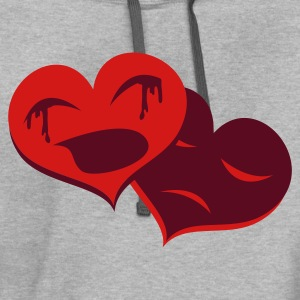 Light oxford heart crying hearts broken T-Shirts - Contrast Hoodie
