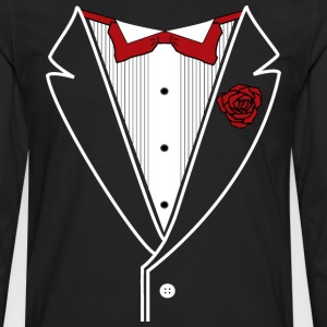 Classic Tuxedo w/ Red Bow Tie - Men's Premium Long Sleeve T-Shirt