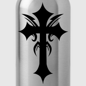 Slate embellished funky cool gothic cross T-Shirts - Water Bottle