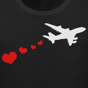 Black air plane with love hearts travel Women's T-Shirts - Men's Premium Tank