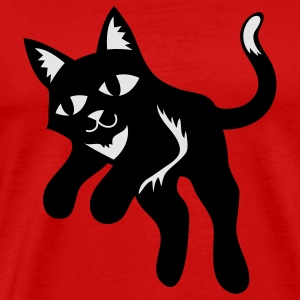Red black cat jumping forward Caps - Men's Premium T-Shirt