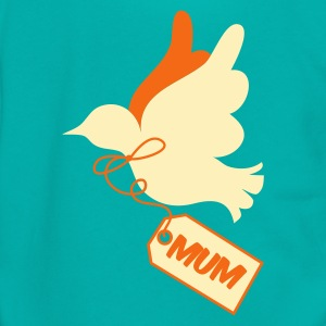 Teal mothers day peace dove with tag saying mum Women's T-Shirts - Unisex Fleece Zip Hoodie by American Apparel