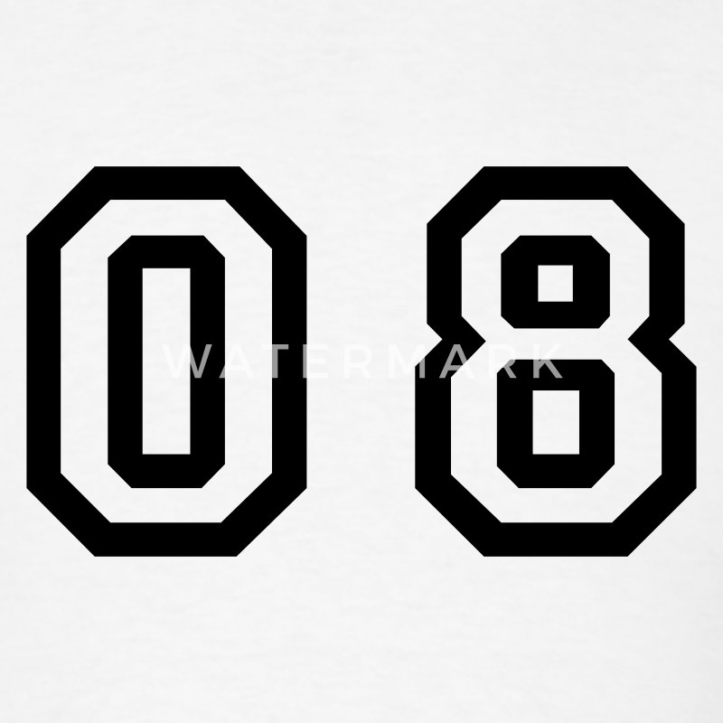 White number - 08 - zero eight T-Shirts - Men's T-Shirt