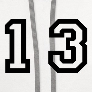 White number - 13 - thirteen T-Shirts - Contrast Hoodie